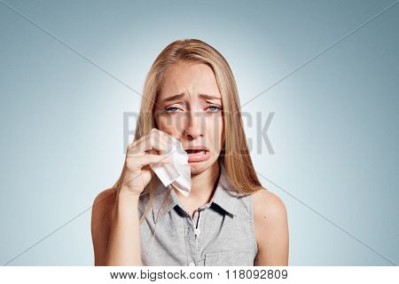 Sad Crying Disappointed Funny Business Woman Isolated On Background. Caucasian Businesswoman Looking