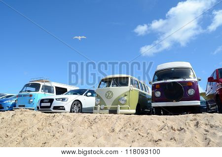 Row of camper vans