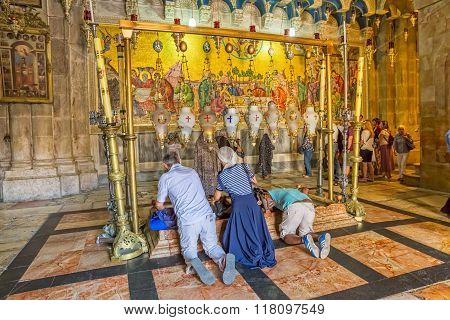 Stone of Anointing in the Holy Sepulchre Church Jerusalem