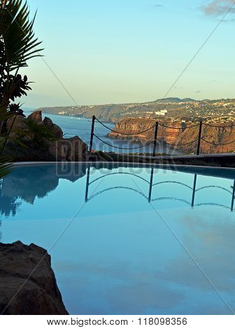 Poolside with beautiful sea view. Canary Islands.Spain.