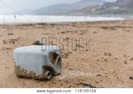 Plastic Bottle Litter On The Beach