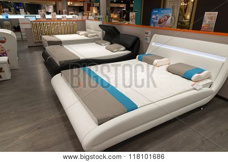 Khimki, Russia - February 13. 2016. Exhibit Samples Beds In Grand Furniture Shopping, Largest Specia