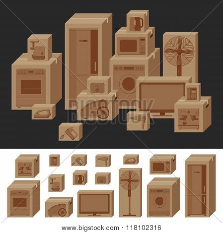 Boxes with household appliances.