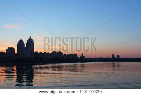 Obolon Skyline Near The Dniepro River In Kyiv. It Is Sunset Time