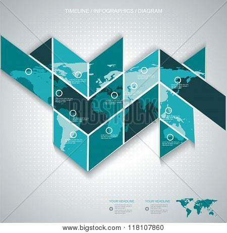 Vector World Map On Puzzle Background - Communication Concept And Infographics Design.
