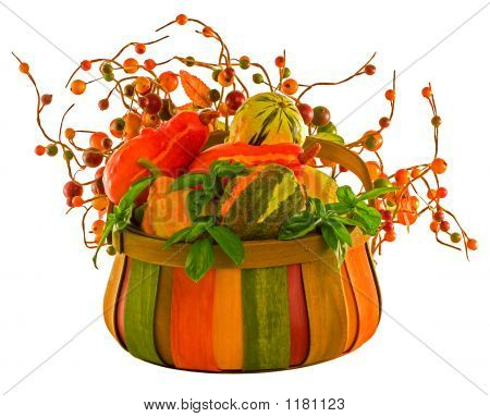 Fall Harvest ~ Pumpkins & Squash In Basket With Fall Berries ~ I