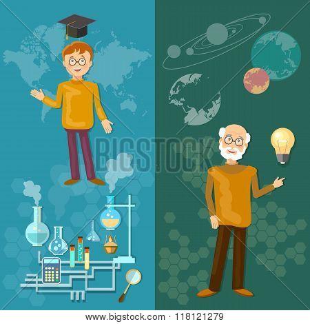 Science And Education Teachers School Board Schoolboy Professor Astronomy Chemistry Laboratory