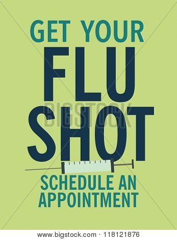 Get your flu shot health care poster with syringe