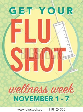 Get your flu shot wellness week poster
