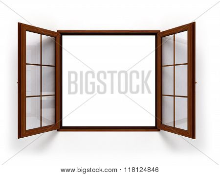 Open Dark Wooden Window Isolated Close Up