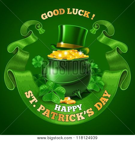 Saint Patricks Day Emblem Design with Leprechaun Treasure Pot Full of Golden Coins, Top Hat, and Rounded Vintage Green Ribbon on Green Background. Vector Illustration. There is Space For Your Text.