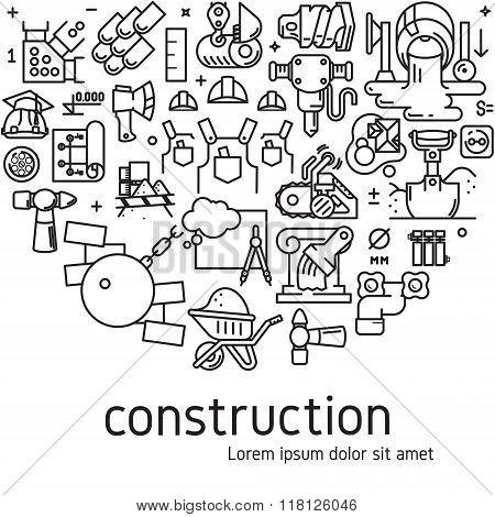 Vector construction illustration with icons and signs in linear style equipment build tool on white background poster or banner template poster