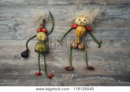 Vegetable Doll Couple On Wooden Table