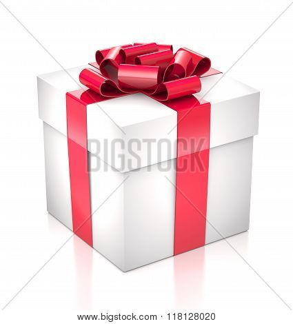 Gift White Box With A Red Bow And Ribbon.