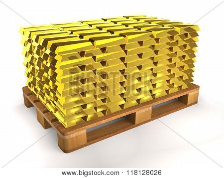 Golden Shiny Ingots On A Wooden Pallet.