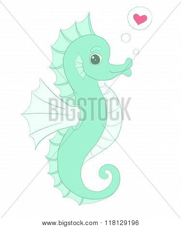 Vector Seahorse With Heart, In Love Illustration.