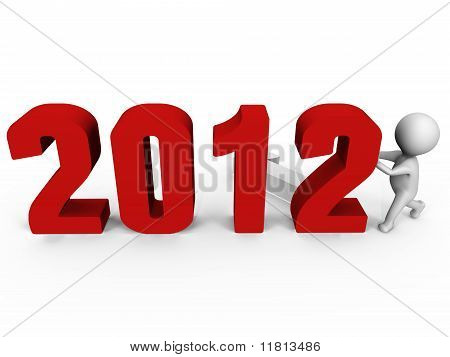 Replacing numbers to form new year 2012 - a 3d image