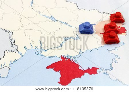 Map Of War In Donbass, Ukraine With Numerical Superiority Of Russian Tanks
