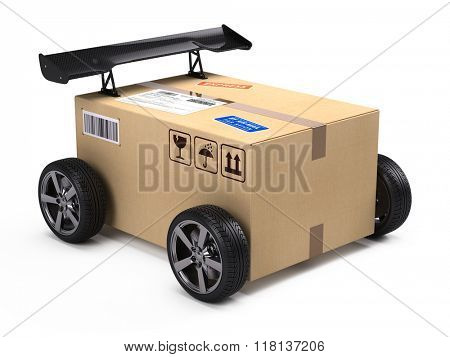 Fast shipping and delivery concept - cardboard box package parcel with wheels and spoiler