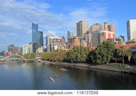 Melbourne cityscape Flinders street station Australia