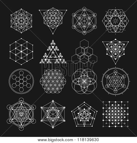 Sacred geometry vector design elements. Alchemy, religion, philosophy, spirituality, hipster symbols