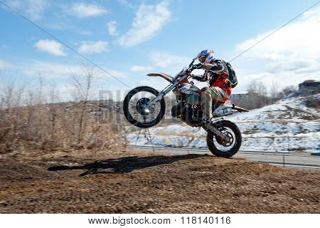 Khabarovsk , Russia - march 22, 2014 : Enduro motorcycle extreme rides