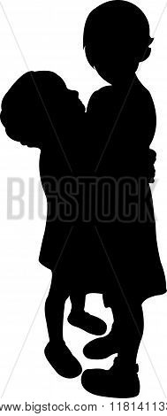 two child together, black color silhouette vector