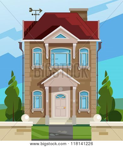 Vector illustration of house. English house facade. Colorful Flat Residential House. Illustration of