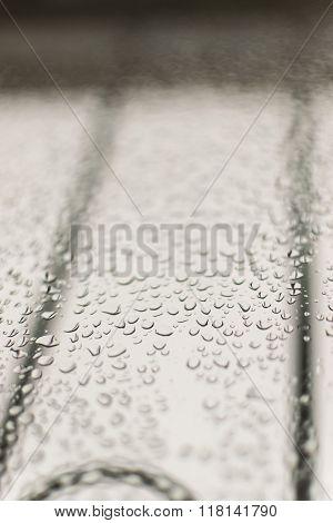 Condensation On A Grey Window