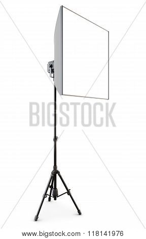 Studio Strobe With Softbox Isolated On White Background. 3D.