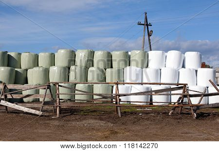 Hay Bales Packed In White Plastic