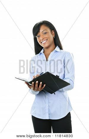 Smiling Woman With Leather Portfolio Folder