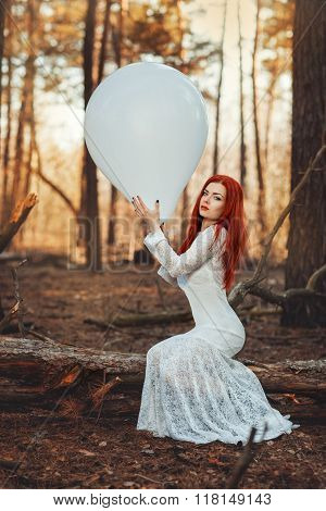 Woman In Fishnet White Dress.