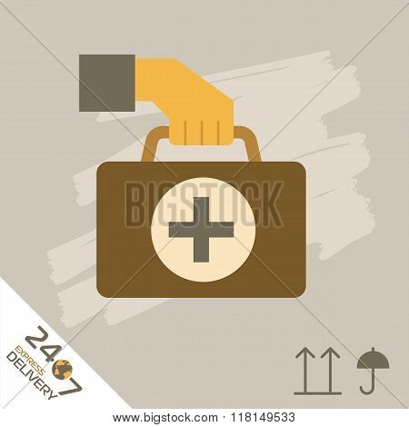 Medical express delivery icon. Medical delivery. Order service. Symbol of medical delivery. Express delivery vector icon. Delivery goods, medical shipping service.  Medical delivery sign. Express delivery illustration. Medical delivery service icon.