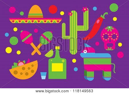 Mexican associated symbols. Mexican national and cultural related Mexican ethnic elements. Latin America concept flat vector and Mexican background sign. Mexican vector doodle. Mexican art. Sombrero, tequila, Mayan pyramid, guitar.