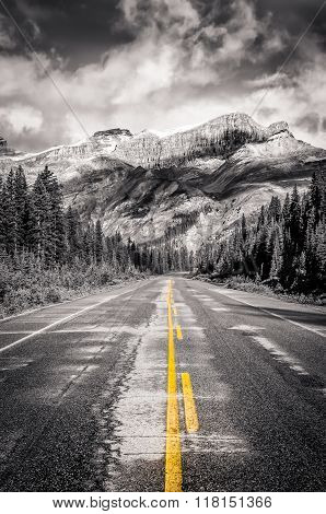 Landscape View Of The Road On Icefields Parkway In Canadian Rockies