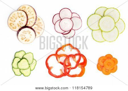 Set Of Sliced Vegetables