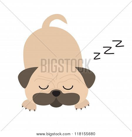 Mops Pug Dog. Cute Cartoon Character. Flat Design. Isolated. Wite Background.