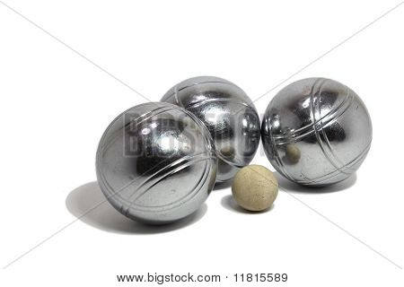 Petanque Balls With A Jack (cochonnet)