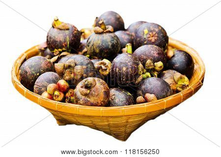 Fruit in the basket on white background