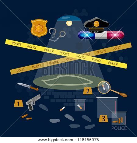 Crime Scene Criminal Search Police Detective Work Vector Illustration