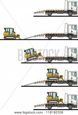 Set of auto transporter and dozer isolated on white background in flat style in different positions.