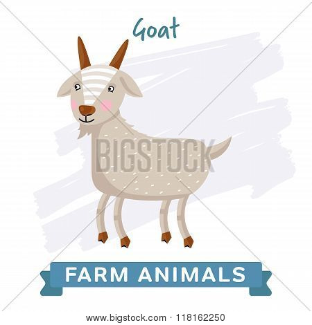 Vector Farm Animal, Goat. Vector Goat. Cartoon Goat. Isolated Goat. Cute Goat. Smiling Goat. Illustration of funny Goat. Goat on white background. Colorful illustration of Goat.