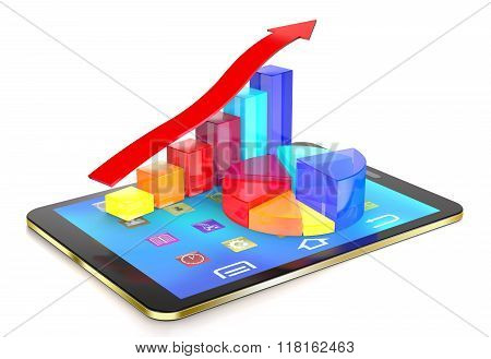 Tablet Pc And Diagram Of Glass Bars And Red Arrow.