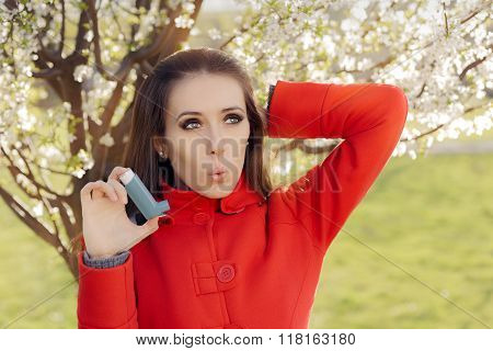 Surprised  Woman with Inhaler  in Spring Blooming Decor