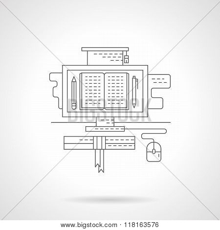 Digital lessons detail line vector icon