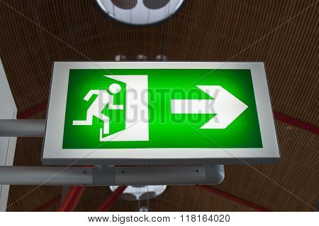 Emergency Exit Signal in Madrid Barajas airport poster