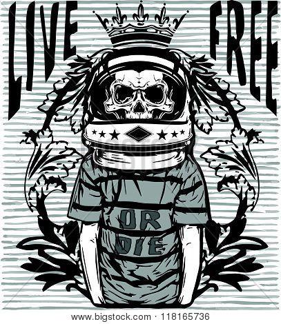 Tee Graphic Skull Astronaut Man White Background