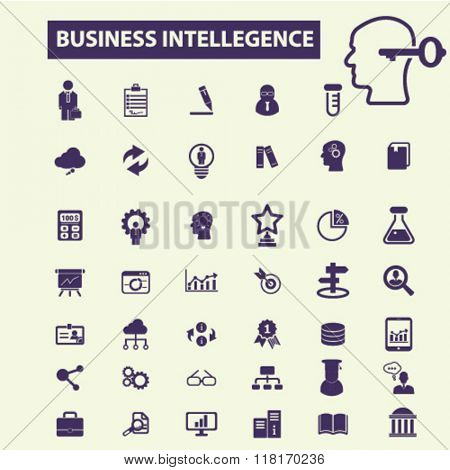 business intelligence icons, analytics icons, marketing research icons, analysis icons, business intelligence concept