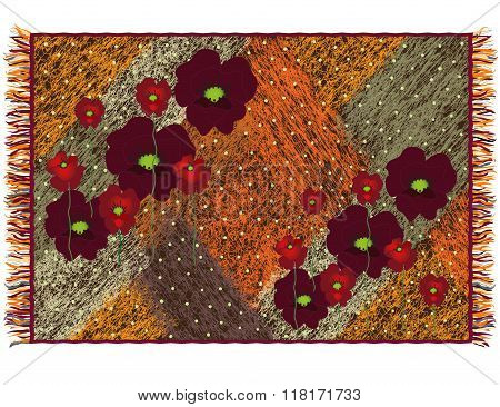 Colorful Weave Grunge Striped Tapestry With Applique Of Red Poppies And Fringe